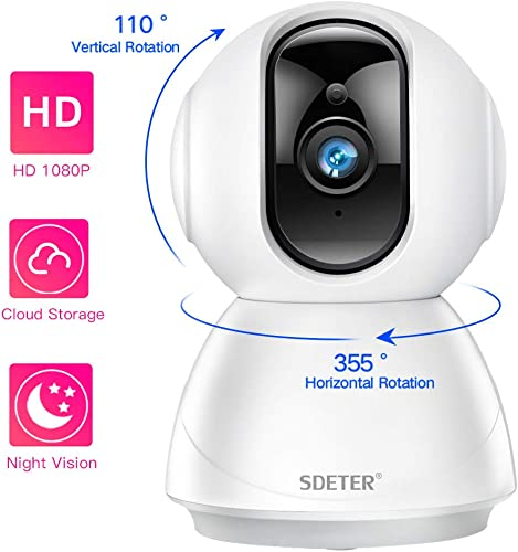 1080P WiFi Security Dome Camera, SDETER HD Home IP Wireless 2-Way Audio Motion Detection Night Vision Baby Pet Monitor Compatible with iOS Android