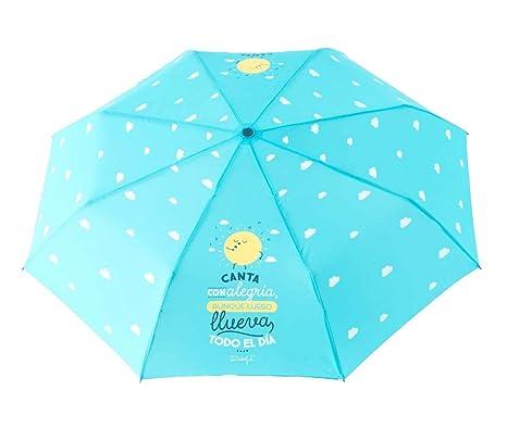 """Paraguas plegable Mr. Wonderful """"Canta con alegría aunque luego llueva todo el día"""""""