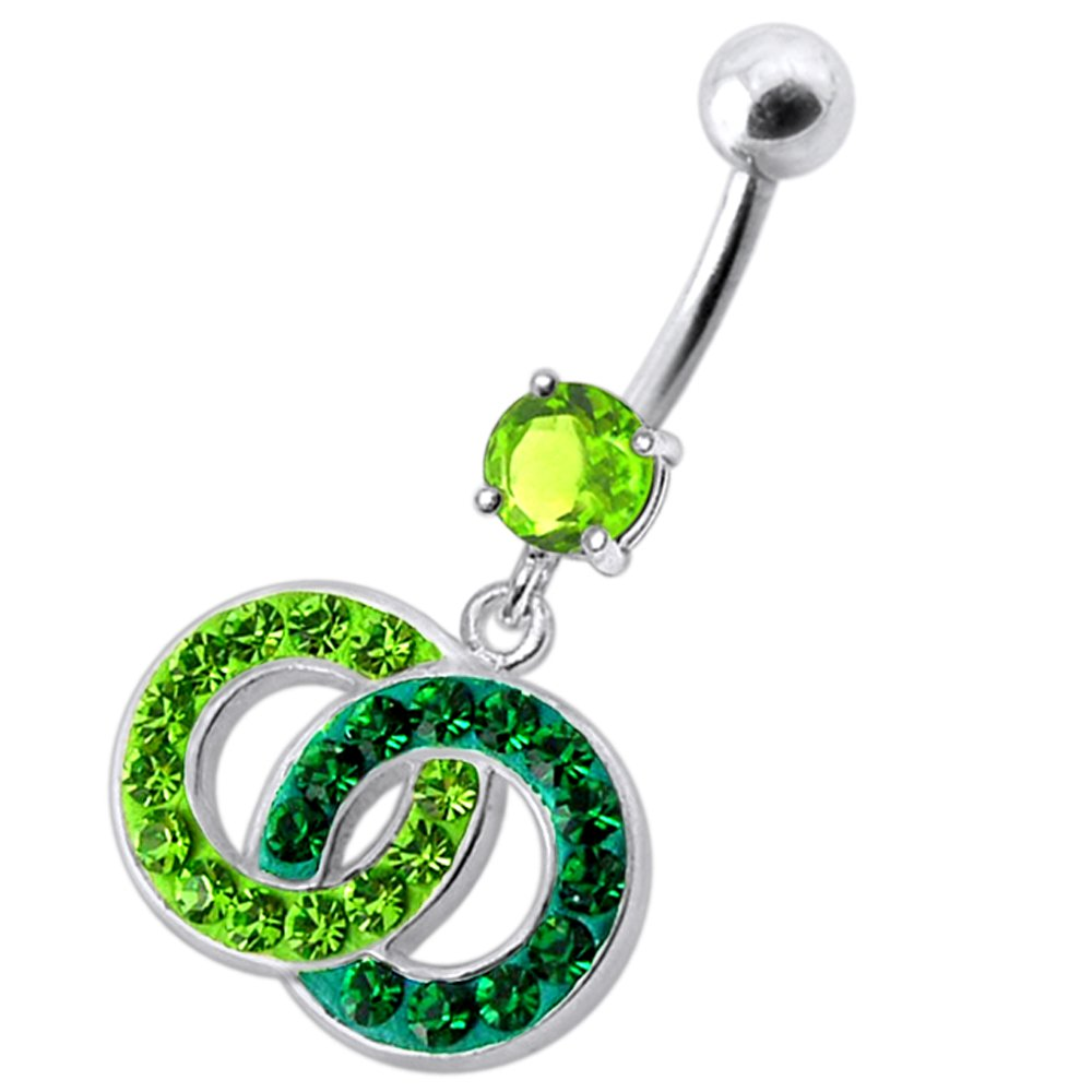 CZ Stone with Multi Crystal Stone Twin Circle 925 Sterling Silver Belly Button Piercing Ring Jewelry