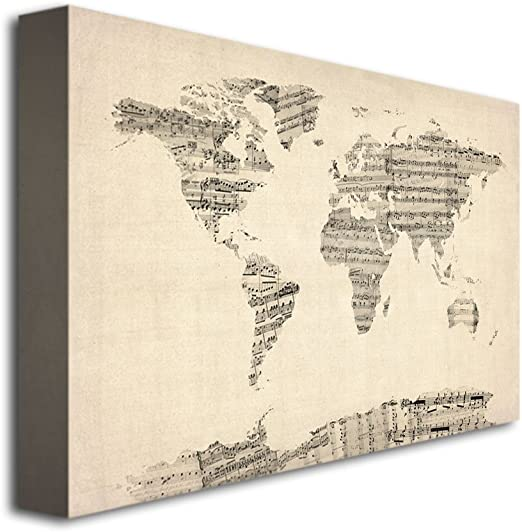 Amazon Com Old Sheet Music World Map By Michael Tompsett 22x32 Inch Canvas Wall Art Prints Posters Prints