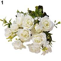 Amesii, 1bouquet di fiori artificiali, stile europeo, con 15 rose. Decorazione floreale per la casa