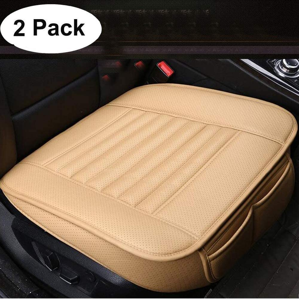 2PCS Car Seat Pad with PU Leather Bamboo Charcoal Car Seat Protector for for Auto Supplies Office Chair (Off-White£