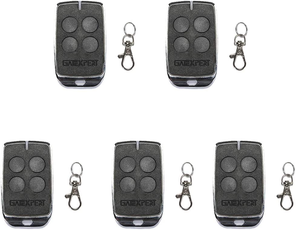 GATEXPERT Remote Control for Sliding Gate Opener 4 Buttons Switch with Keychain Battery 433.92MHz Black Mini Remote Control Transmitter (5PCS)