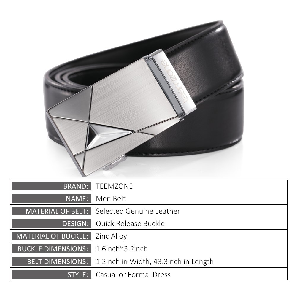 Teemzone Men\'s Automatic Ratchet Belt Genuine Leather Business Casual Style Slide Belt (Black 115cm)