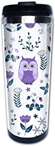 Yunshm Purple Owls in The Flowers Coffee Travel Mug Coffee Cups Coffee Cups with Lids Stainless Steel Insulation Cup for Men Women Personalized