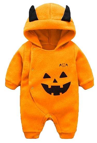 f9fd81e75cb Amazon.com  Newborn Baby Boys Girls Long Sleeve Halloween Pumpkin Hooded Romper  Jumpsuit Warm Onesies  Clothing