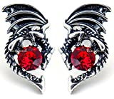 Game Thrones Merchandise Jewelry Earrings - Red Crystal Dragon Studs Costume Cosplay Collection