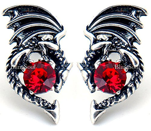 Game of Thrones Merchandise Jewelry Earrings - Red Crystal Dragon Studs Costume Cosplay Collection (James Bond Girl Costumes Halloween)