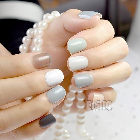 EchiQ 240 piezas de uñas postizas de color gris abuelo para uñas postizas cortas de cubierta