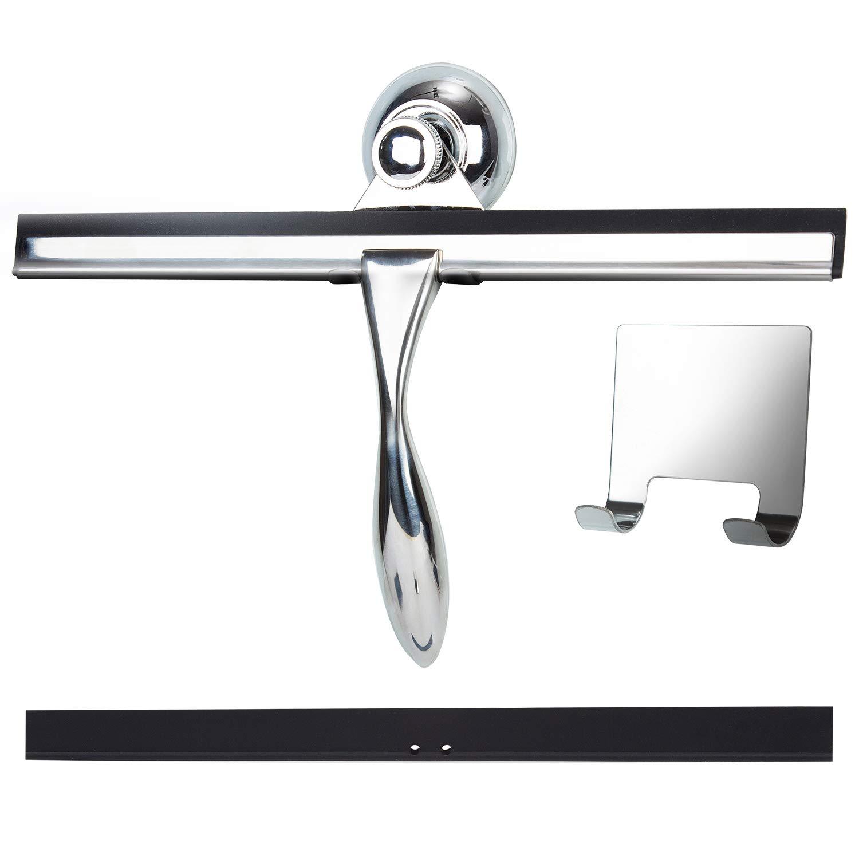 Kwokker シャワースクイージー ステンレススチール スクイージー バスルームシャワードアクリーナー ストリークフリー ガラスタイルスクレーパー 交換用ゴムブレードワイパー 吸盤フックホルダー付き 窓、鏡、車 B07HNTX1L6