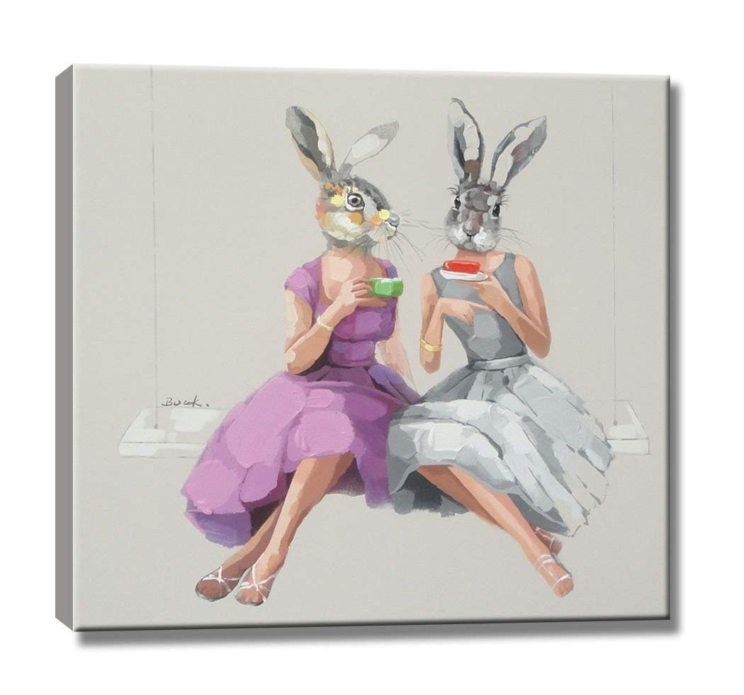 YOUKOU Hand Painted on Canvas Bunny Girls Oil Painting Modern Decorative Artwork Ready To Hang for Living Room Wall Decor 20 x 24 inch