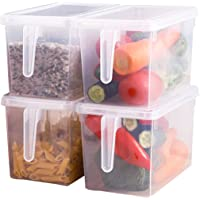 Sooyee Fridge Storage Containers Produce Saver, 4 Pack x 5L Stackable Refrigerator Organizer Keeper with Handle to Keep…