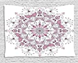 Ambesonne Purple Mandala Tapestry, Lacy Pastel Floral with Butterfly and Lotus Figures Meditation Design, Wall Hanging for Bedroom Living Room Dorm, 60 W X 40 L inches, White Light Pink