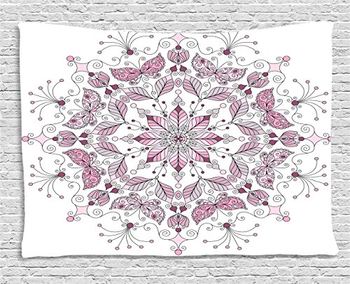 Ambesonne Purple Mandala Tapestry, Lacy Pastel Floral with Butterfly and Lotus Figures Meditation Design, Wall Hanging for Bedroom Living Room Dorm, 60 W X 40 L inches, White Light Pink by Ambesonne