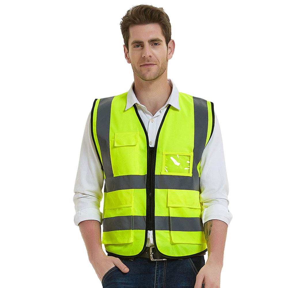 Gayisic ReflectiveSafetyVest, High Visibility, Bright Neon Color Construction Protector with Reflective Strips with Five Pockets (XL, Yellow)