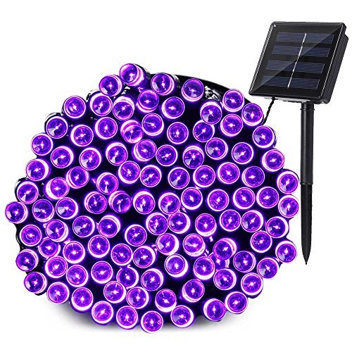 Qedertek 200 LED Solar Christmas Lights, 72 ft Halloween String Lights Waterproof Outdoor Fairy Lights for Xmas, Home, Wedding, Patio, Lawn, Garden, Porch, Party and Holiday Decorations (Purple)]()