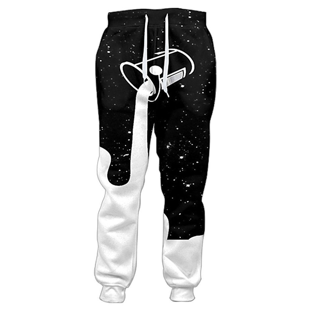 Wpmen Men Pants Pouring Into Starry Night Sky to Fill up Galaxy Glass of Milk 3D Printed Sweatpants