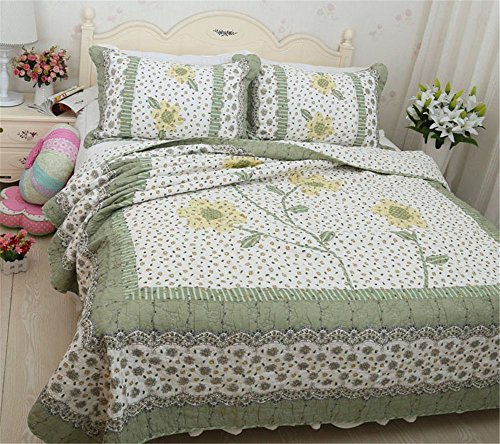 Newrara Fine Cotton Washable Patchwork Quilt Bedspread Queen Size 3pcs (Green)