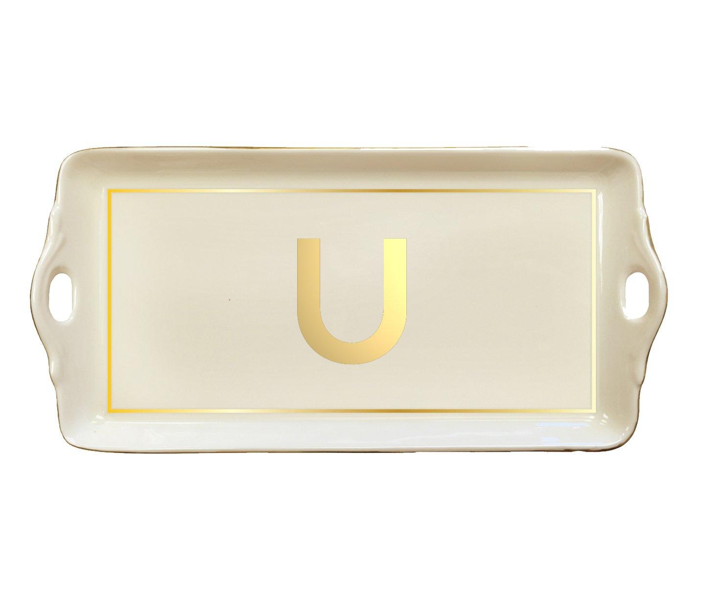McLaughlin Glazeware Pickard China Initial Tray - Custom Letter - Gold (U)