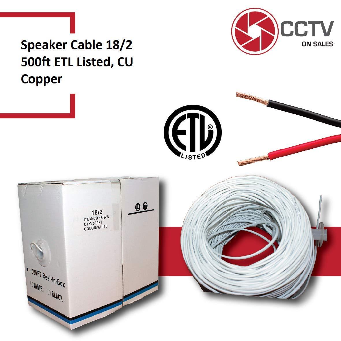 スピーカーワイヤケーブル 18 AWG 2連CCA導体 CMR定格 (壁取付用) 18/2 ホワイト 500フィート ETL認証   B07H8RHSDW