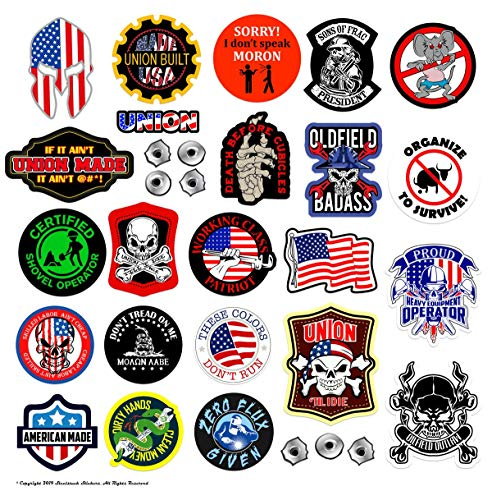 Large Union Hard Hat Stickers | 100% Highest Quality Waterproof Vinyl | Funny Hardhat, Toolbox, OILFIELD, Organize, Union, Roughneck, Welder, Construction, Patriotic, American Flag! (Union Stickers Hard Hat)