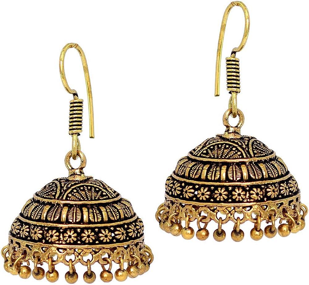 Amazon Com Jaipur Mart Indian Bollywood Oxidised Plated Jhumka Earrings Gold Jewellery Gift Jewelry