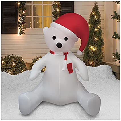 christmas airblown inflatable 8 ft tall sitting polar bear w santa hat outdoor yard decoration