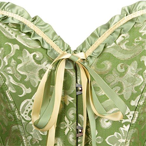 Pampel Damen Bridal Wäsche schnürt sich oben Satin ohne Knochen Korsett Cincher Shaper Body Tailenmieder Grün QjFgKHnkXC