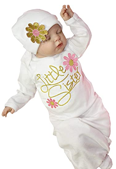 60b9c6c81 Newborn Baby Girl Cotton Nightgowns Infant Pajamas Little Sister Floral  Sleeping Bag Hats 2Pcs (White