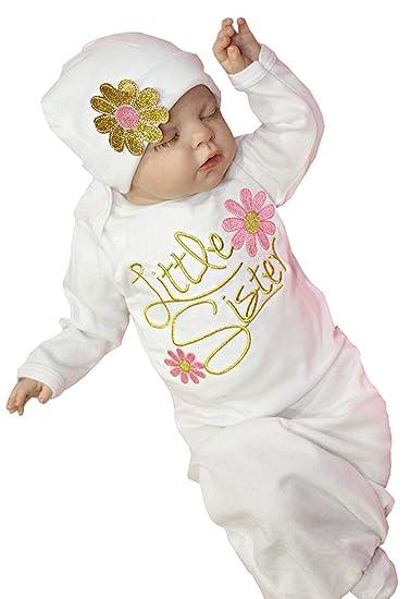 6dbd96e804ae Amazon.com  Newborn Baby Girl Cotton Nightgowns Infant Pajamas ...