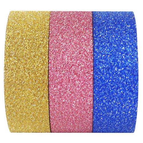 Wrapables Glamorous Glitter Washi Masking Tape, 5M by 15mm, Set of 3