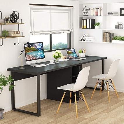 Escritorio de escritorio para dos personas de Little Tree, extragrande y doble estación de trabajo, estilo moderno y simple con almacenamiento: Amazon.es: Oficina y papelería