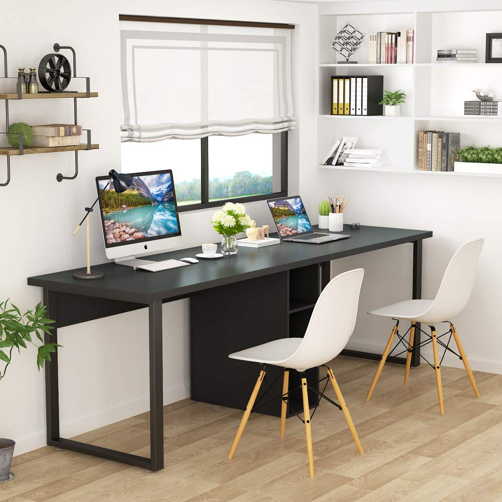 Tribesigns 78 Inches Computer Desk, Extra Large Two Person Office Desk with Shelf, Double Workstation Desk for Home Office (Black) by Tribesigns