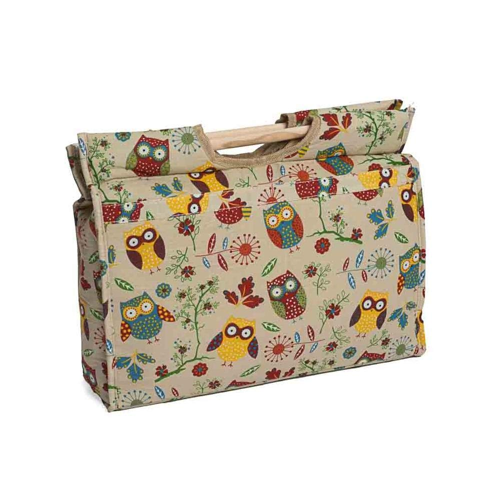 Hobby Gift MR4687/29 Owl Print on Natural Craft/Knitting Storage Bag 11x42x31½cm Groves