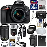 Nikon D5600 Wi-Fi Digital SLR Camera 18-55mm VR & 70-300mm DX AF-P Lenses + 32GB Card + Case + Flash + Battery & Charger + Tripod + Tele/Wide Lens Kit