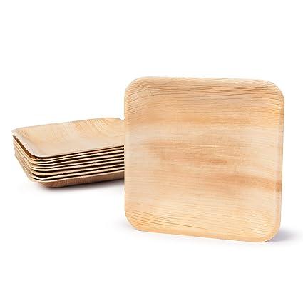 BIOZOYG Platos de Hojas de Palma | 200 Piezas de ojas de Palma Rectangular 15 x 15 cm | Bio vajilla desechable Boda compostable Biodegradable Vajilla ...