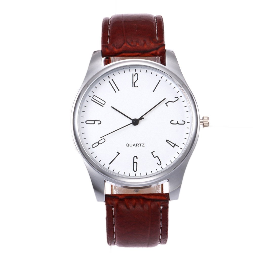 Men's Quartz Watch On Sale,Clearance Men's Simple Business Watch,Wugeshangmao Boy's Fashion Analog Sport Wrist Watch Casual Watches Gift,Round Dial Case Leather Band Watches
