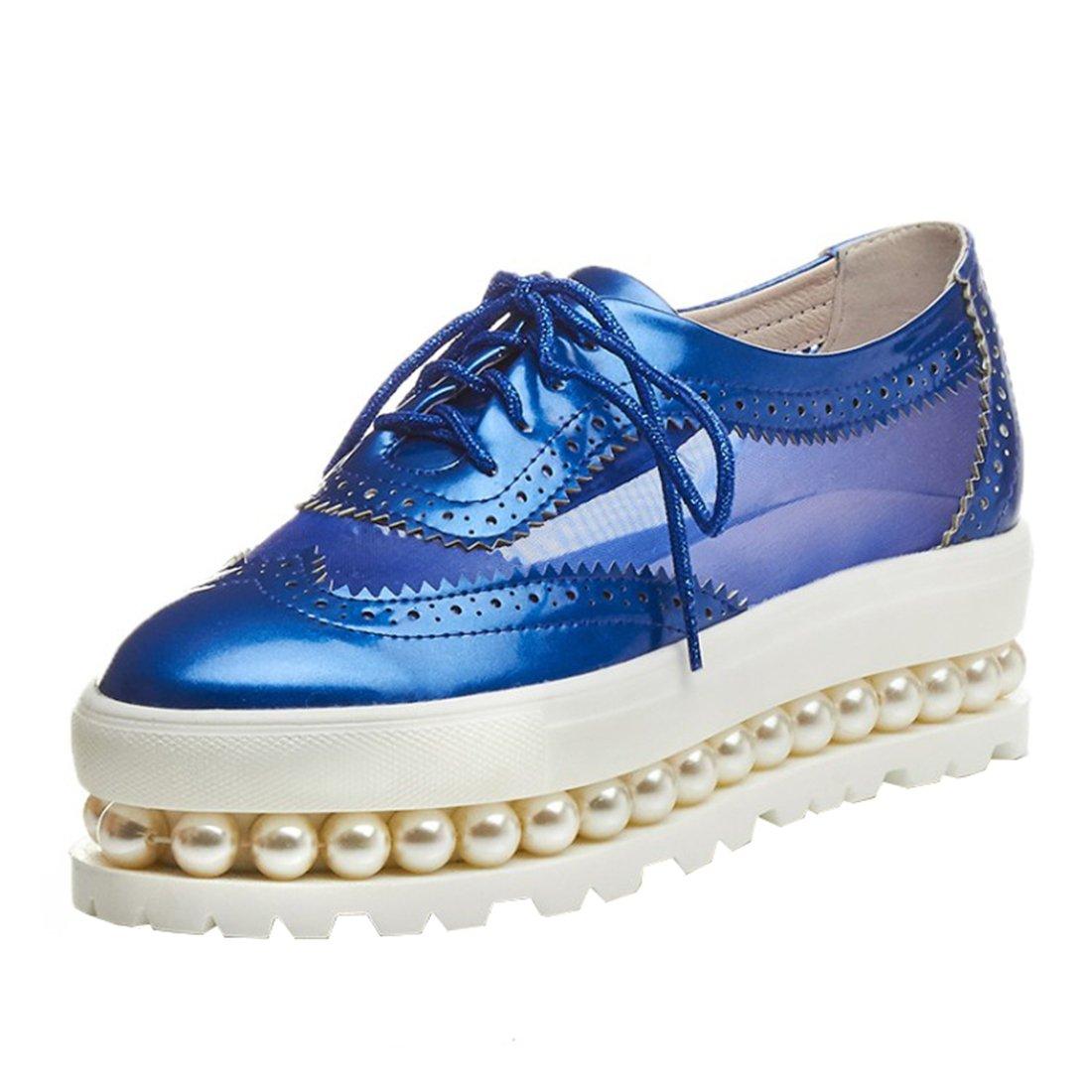 UH Damen Vintage Flach Geschlossen Plateau Pumps mit Schnuuml;rung und Perlen 5cm Absatz Freizeit Schuhe39 EU|Blau