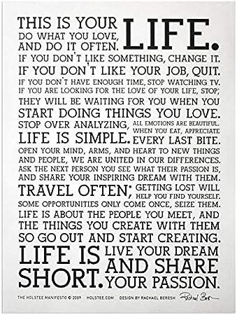 T532 Holstee Manifesto LIFE Motivational Custom Silk Poster Art