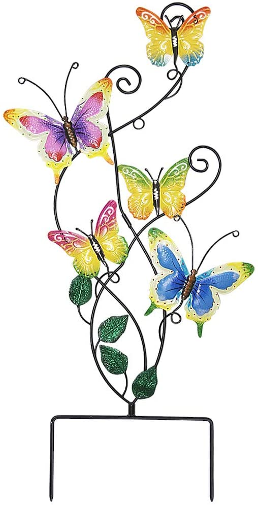 Juegoal 28 Inch Butterfly Garden Stake Decor Metal Wall Art Decoration, Yard Outdoor Ornaments: Garden & Outdoor