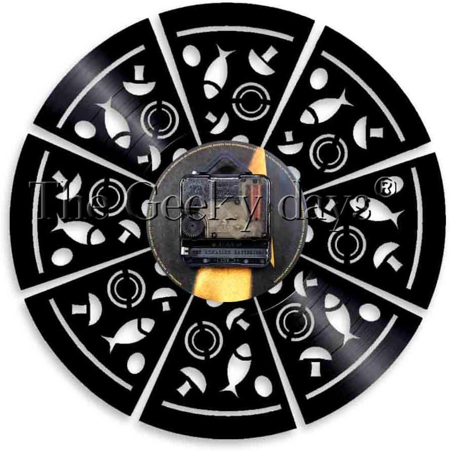 AIYOUBU 1 Pieza Logotipo de la Tienda de Pizza Signo Lite Lite Decoración de la Cocina Vinilo Disco Reloj Comida Arte de la Pared Pizzería Emblema Luz Diseño ...