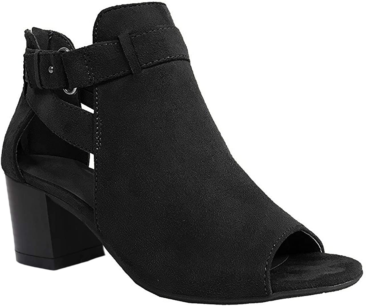 Womens Cutout Block Chunky Low Stacked Heel Sandals Open Toe Booties Fall Ankle Boots Black