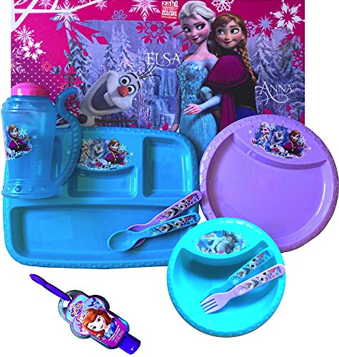 [Disney Frozen 10 Piece Children's Complete Dinnerware Set ,Placemat ,Plate, Utensils ,Sipper Bowl, Drinking Cup Includes Sofia the First Hand Sanitizer (SIPPER MUG)] (Disney Frozen Placemat)