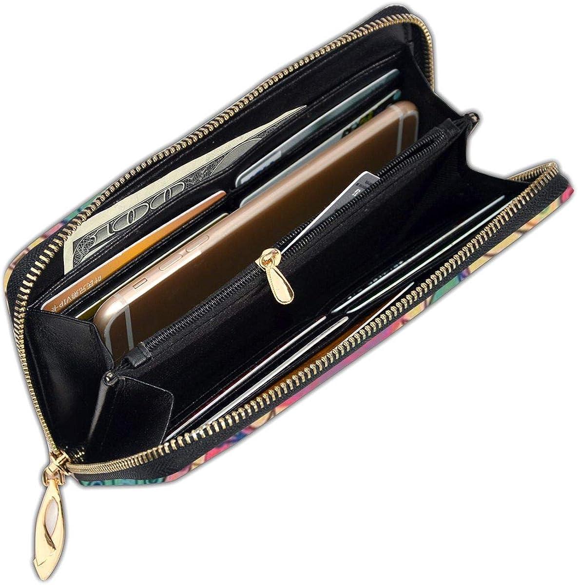Kaleidoscope Color Womens RFID Blocking Zip Around Wallet Genuine Leather Clutch Long Card Holder Organizer Wallets Large Travel Purse