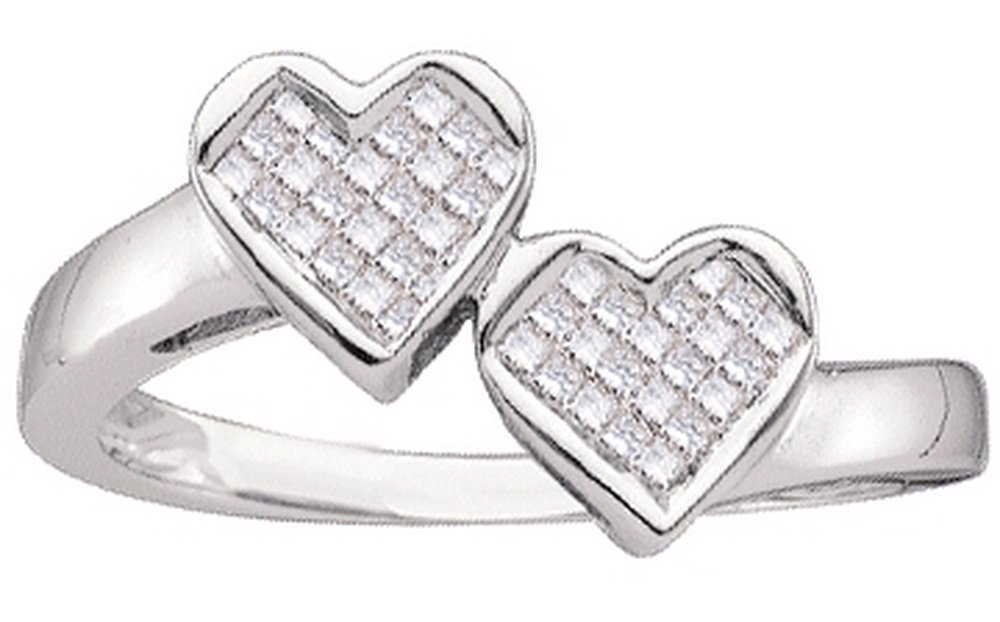 14kt White Gold Womens Princess Diamond Double Heart Love Ring 1/4 Cttw (I2-I3 clarity; I-J color)