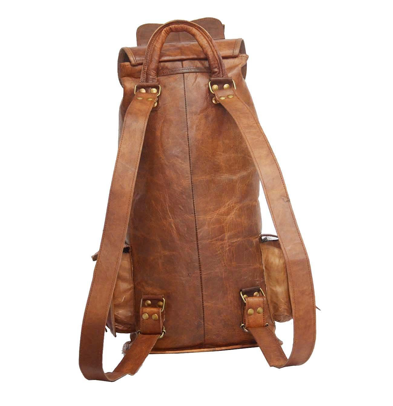 Prastara16 INCHES goat leather bags College Backpack Traveling Backpack For Unisex