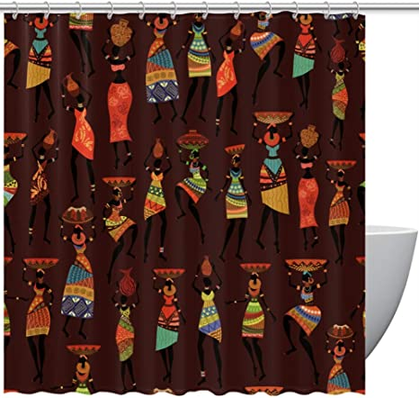 African Wild Ainimal /&Tribal Women Painting Waterproof Fabric Shower Curtain 72/""