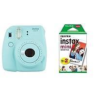 Fujifilm Instax Mini 9 Ice Fotocamera per Stampe, Formato 62 x 46 mm, Azzurro + 2 x Instax Mini Film Pellicola Istantanea per Fotocamere Instax Mini, Formato 46x62 mm, Confezione da 20 Foto