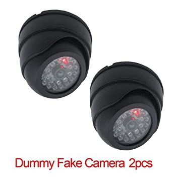 Cartshopper 2 Pcs Dummy Security CCTV Fake Dome Imitation Surveillance Security Camera with Blinking Red Led Light Indication. for Home Or Office Security Camera