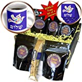 InspirationzStore Judaica - White floral dove of peace with Hebrew Shalom text - flowery - flowers - Jewish - Judaism - Coffee Gift Baskets - Coffee Gift Basket (cgb_58351_1)